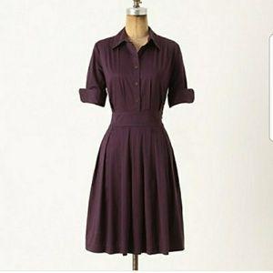 Anthro Deep Purple Plum Shirt Dress